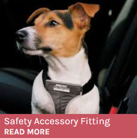 Safety Accessory Fitting Service button showing a jack russell wearing a car safety harness