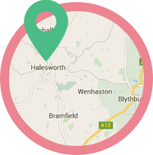 Location map showing the shop in Halesworth